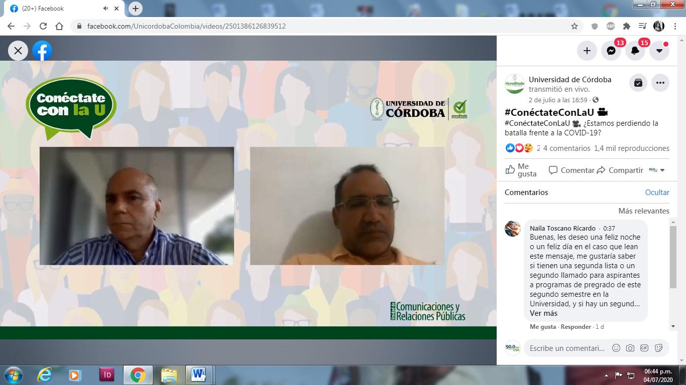 Salim Mattar Velilla y Manuel González Fernandez, invitados a Conéctate con la U, de la Unidad de Comunicaciones y Relaciones Públicas de Unicórdoba.