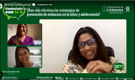 Las invitadas a Conéctate con la U fueron: Lauren De La Rosa Flórez (superior izquierda); Lina Montes Rodríguez (inferior izquierda) y Diva Moreno López.