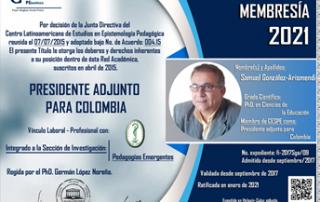 Diploma de membresía del CESPE al docente Unicordobés Samuel González Arismendi.