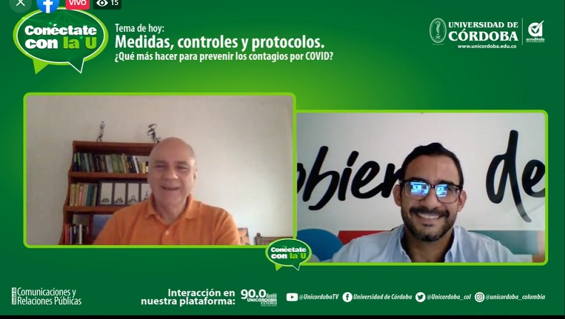 Dr. Salim Mattar Velilla, director del IIBT de Unicórdoba y Dr. Hugo Kerguelén, gerente COVID en Montería.