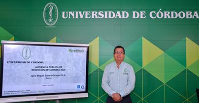 El rector de Unicórdoba, Jairo Torres Oviedo, durante la Audiencia Pública de Rendición de Cuentas 2020.