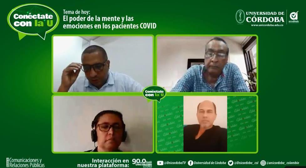 En la columna derecha los doctores Jesús Miranda (parte superior) y José Álvarez y en la columna izquierda, los comunicadores Jorge Velásquez, jefe de comunicaciones Unicórdoba y Elinda Brugés.